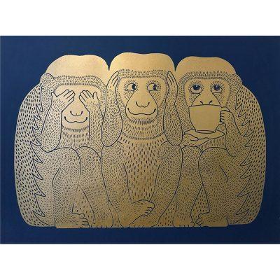 RGB gold monkeys on blue